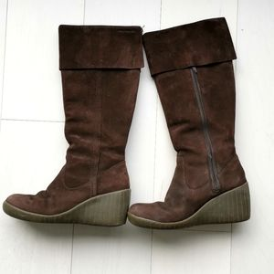 Suede hush puppies wedge tall heeled boots